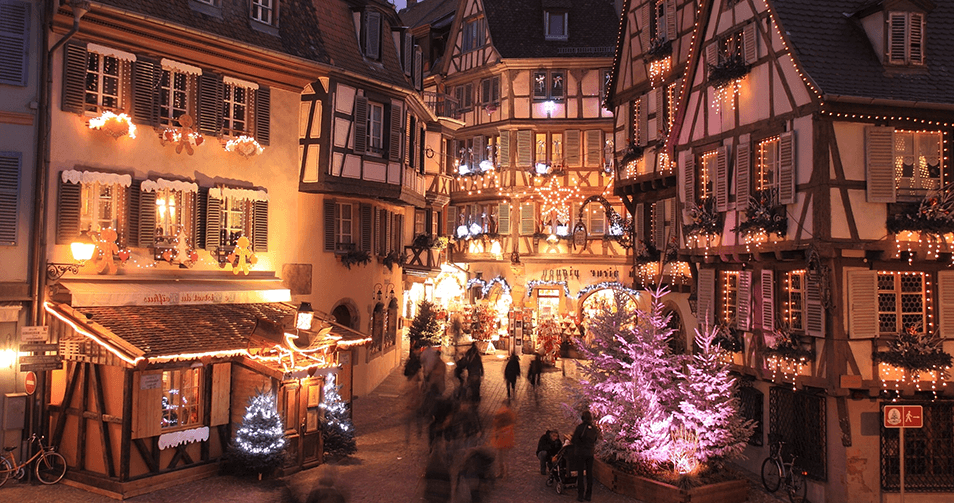 Рождественская ярмарка в Страсбурге на Соборной площади