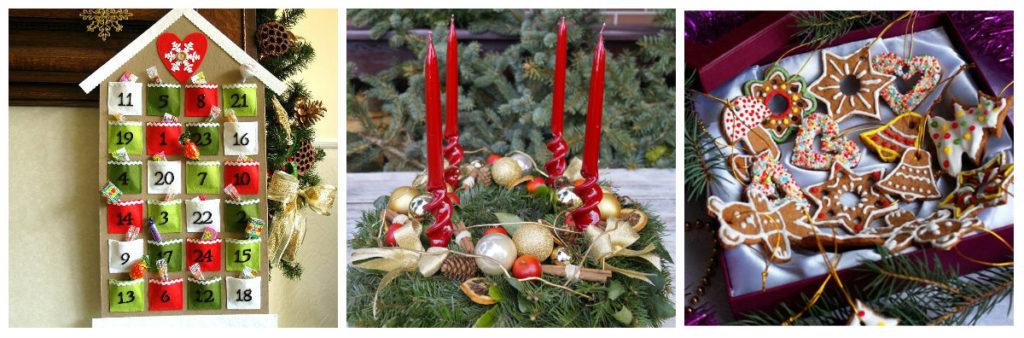 Календарь и венок Адвента. Рождественское печенье в Чехии.