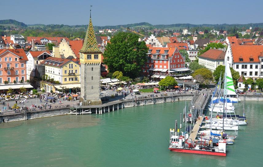 Панорама города Линдау (Бавария, Германия)