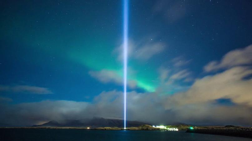 Иллюзорная башня «Представь себе мир» (Рейкьявик, Исландия)