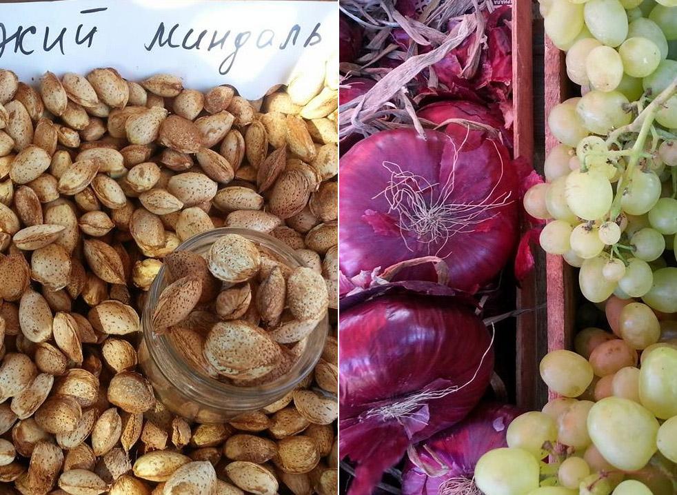Крым в августе: ялтинский лук, виноград мускат и свежий миндаль
