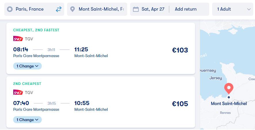 Из Парижа в Мон-Сен-Мишель на поезде: цены на билеты