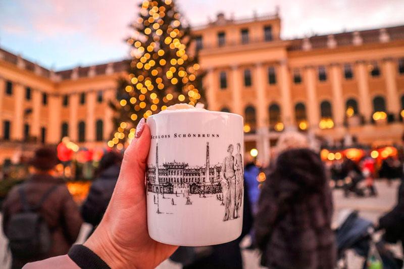 Новогодняя ярмарка перед дворцом Шёнбрунн в Вене