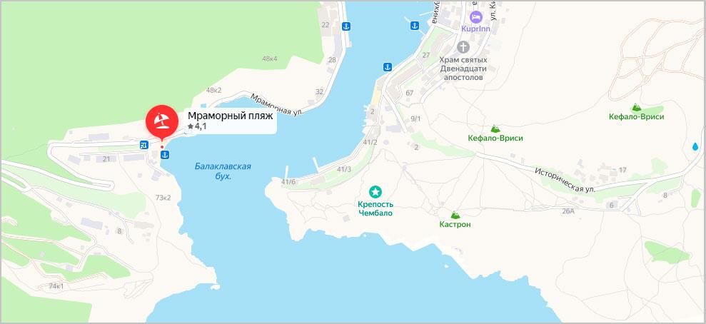 Мраморный пляж на карте Балаклавы