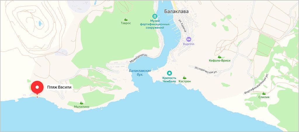 Пляж Васили на карте