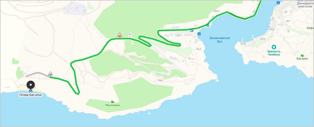 Дорога к пляжу Васили на машине