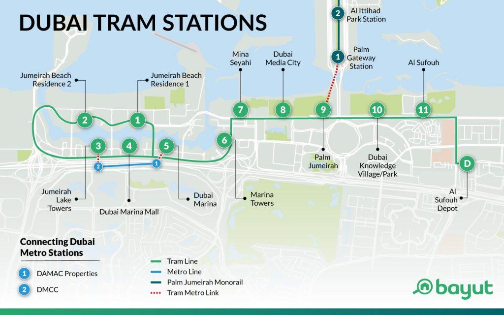 Трамвай Дубай Марина: схема движения